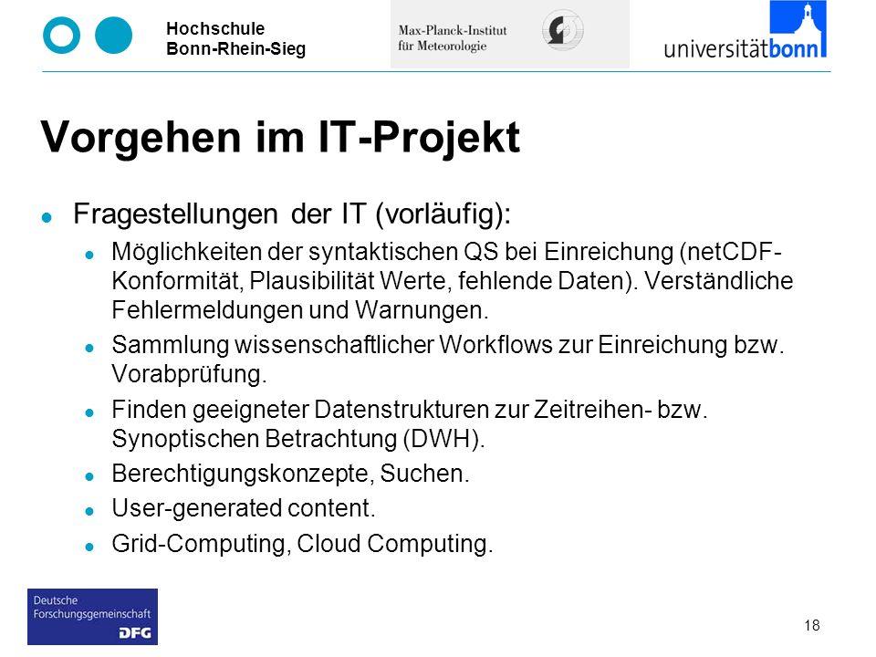 Hochschule Bonn-Rhein-Sieg 18 Vorgehen im IT-Projekt Fragestellungen der IT (vorläufig): Möglichkeiten der syntaktischen QS bei Einreichung (netCDF- K