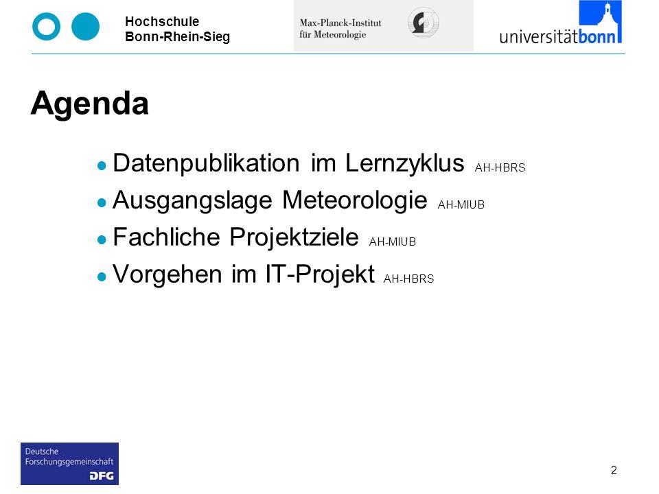 Hochschule Bonn-Rhein-Sieg 2 Agenda Datenpublikation im Lernzyklus AH-HBRS Ausgangslage Meteorologie AH-MIUB Fachliche Projektziele AH-MIUB Vorgehen i