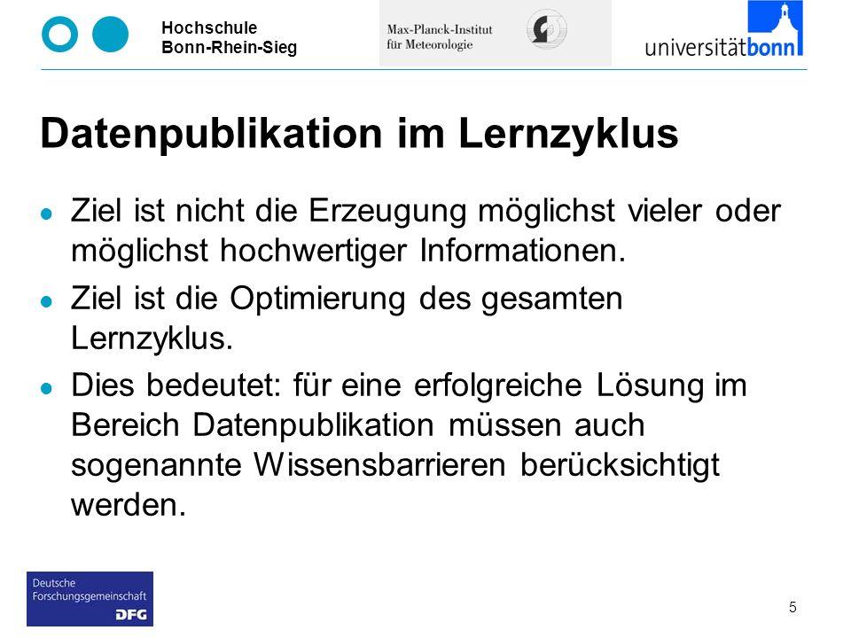 Hochschule Bonn-Rhein-Sieg 5 Datenpublikation im Lernzyklus Ziel ist nicht die Erzeugung möglichst vieler oder möglichst hochwertiger Informationen. Z