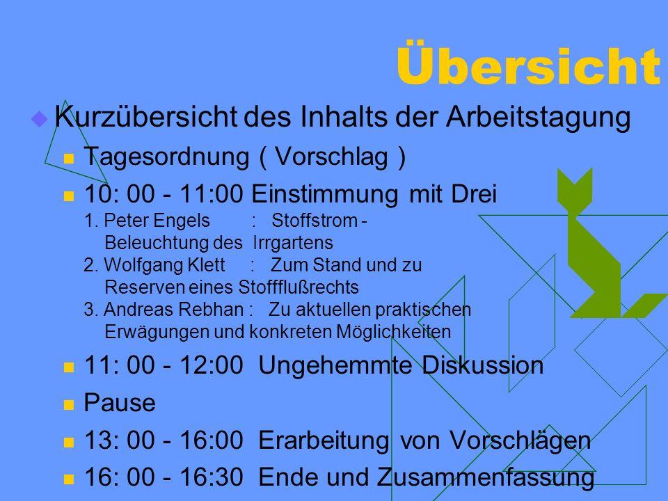 Übersicht Kurzübersicht des Inhalts der Arbeitstagung Tagesordnung ( Vorschlag ) 10: 00 - 11:00 Einstimmung mit Drei 1. Peter Engels : Stoffstrom - Be