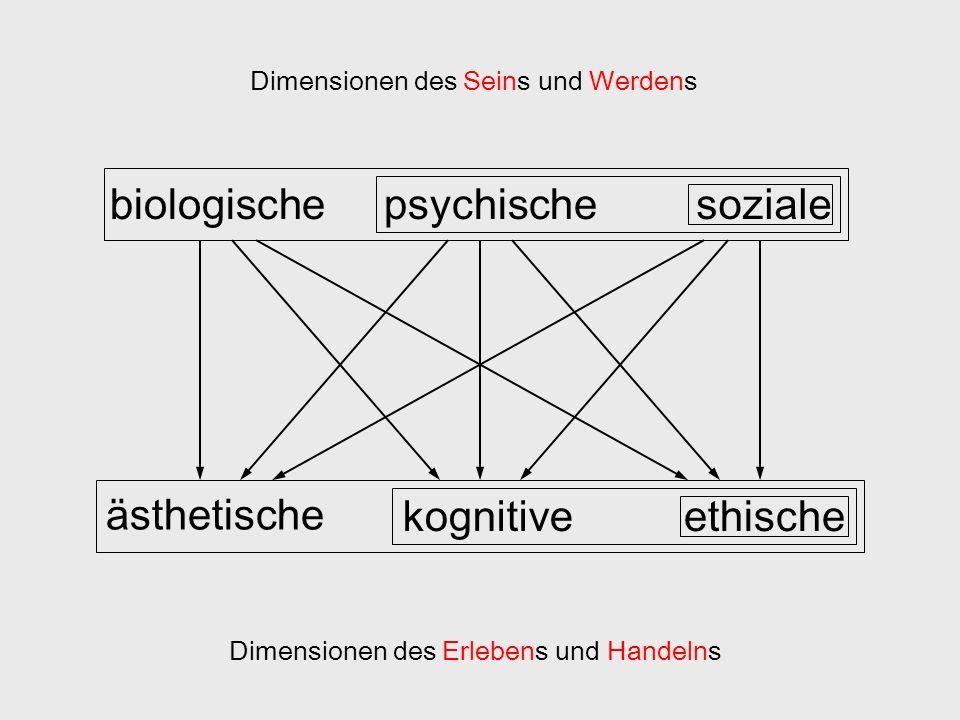 biologischepsychischesoziale ästhetische kognitiveethische Dimensionen des Seins und Werdens Dimensionen des Erlebens und Handelns