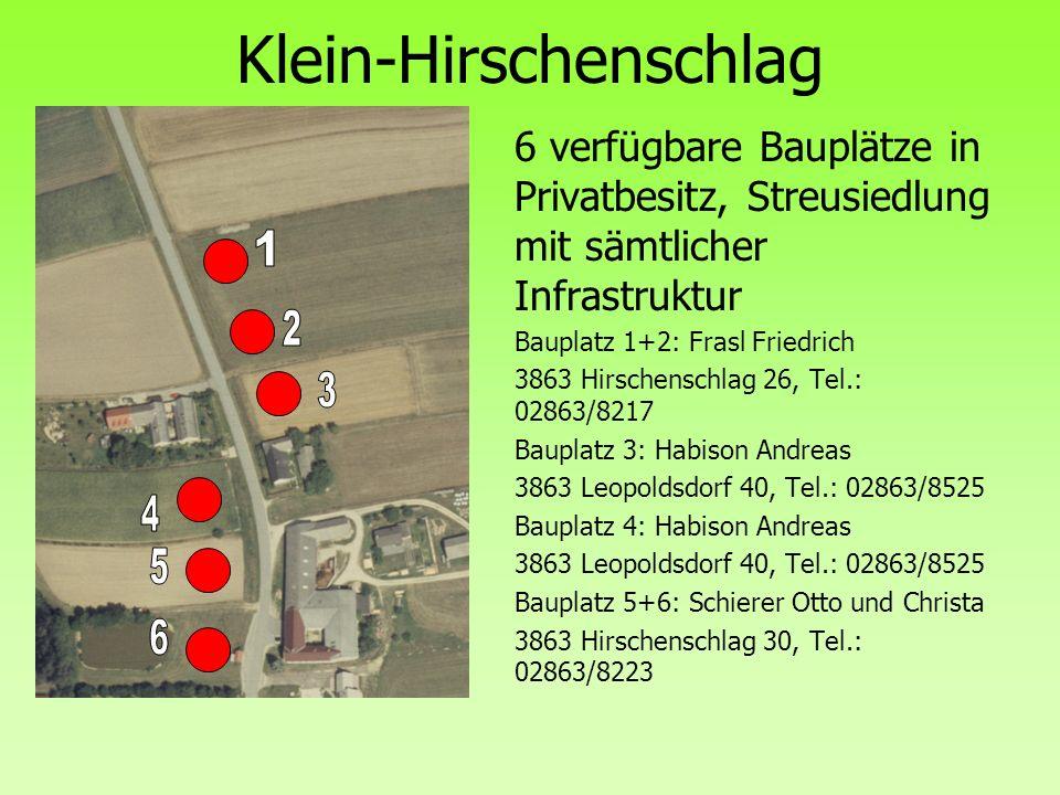 Klein-Hirschenschlag 6 verfügbare Bauplätze in Privatbesitz, Streusiedlung mit sämtlicher Infrastruktur Bauplatz 1+2: Frasl Friedrich 3863 Hirschensch