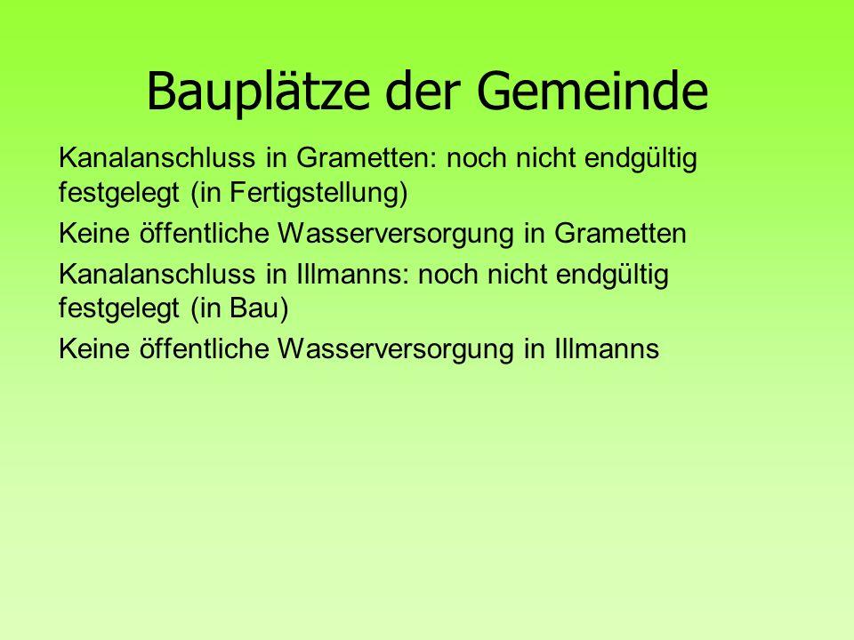 Bauplätze der Gemeinde Kanalanschluss in Grametten: noch nicht endgültig festgelegt (in Fertigstellung) Keine öffentliche Wasserversorgung in Gramette