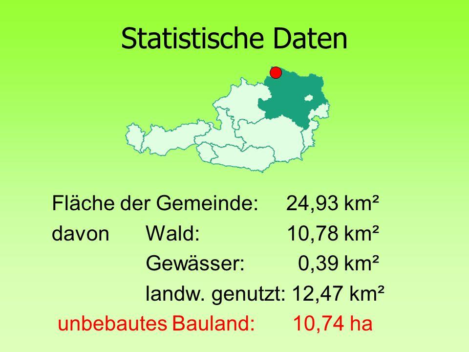 Statistische Daten Fläche der Gemeinde: 24,93 km² davon Wald: 10,78 km² Gewässer: 0,39 km² landw. genutzt: 12,47 km² unbebautes Bauland: 10,74 ha