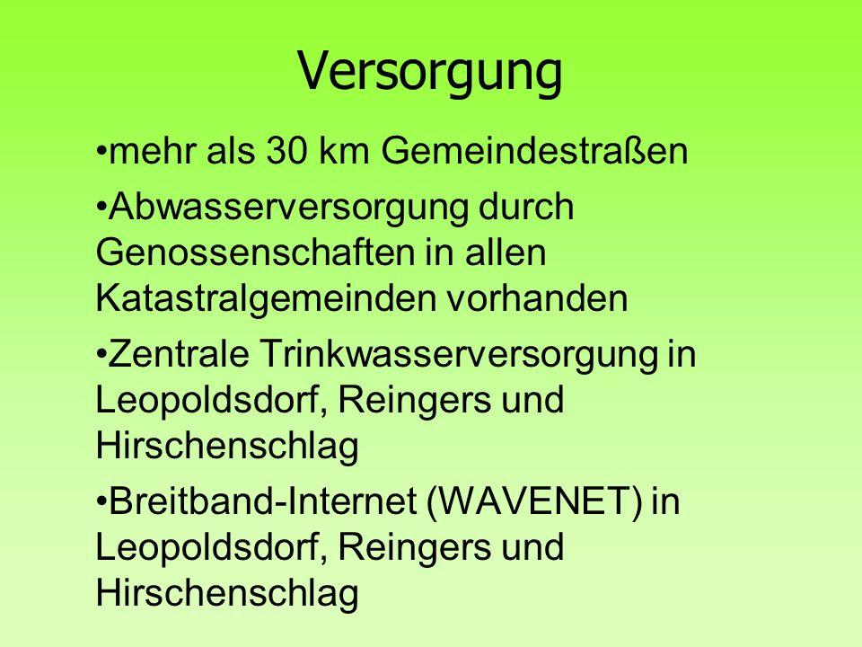 Versorgung mehr als 30 km Gemeindestraßen Abwasserversorgung durch Genossenschaften in allen Katastralgemeinden vorhanden Zentrale Trinkwasserversorgu