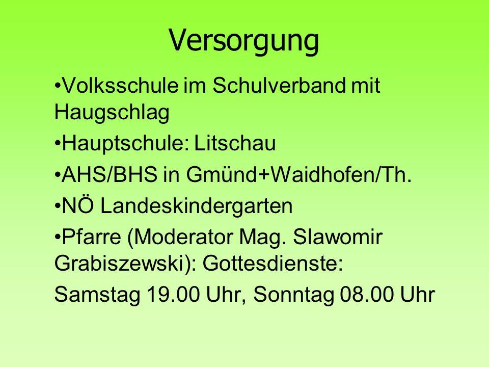 Versorgung Volksschule im Schulverband mit Haugschlag Hauptschule: Litschau AHS/BHS in Gmünd+Waidhofen/Th. NÖ Landeskindergarten Pfarre (Moderator Mag