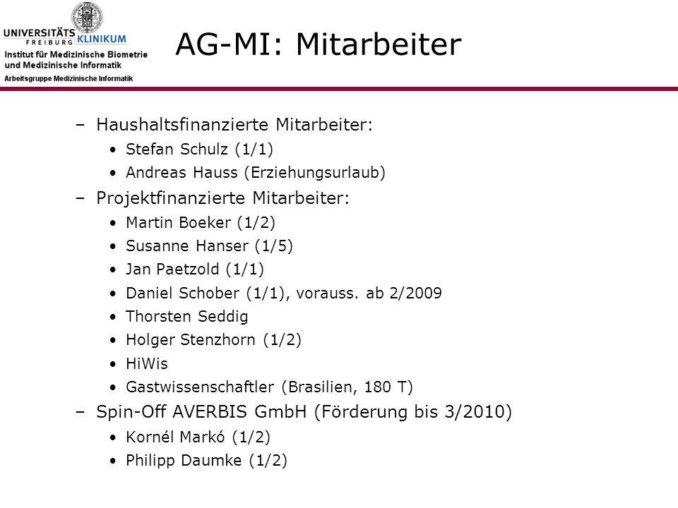 AG-MI: Mitarbeiter –Haushaltsfinanzierte Mitarbeiter: Stefan Schulz (1/1) Andreas Hauss (Erziehungsurlaub) –Projektfinanzierte Mitarbeiter: Martin Boeker (1/2) Susanne Hanser (1/5) Jan Paetzold (1/1) Daniel Schober (1/1), vorauss.