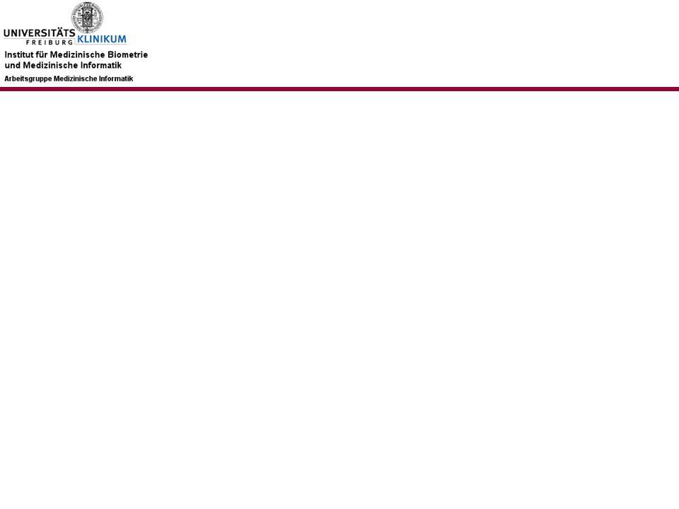 AG-MI: Plan 2009 (I) Konsolidierung bisheriger Aktivitäten auf den Gebieten –Terminologien und Ontologien –Informationsextraktion und Text Mining –eLearning (in Kooperation mit dem Studiendekanat der Medizinischen Fakultät) Ausrichtung auf neuen Schwerpunkt: Methoden der Medizinischen Informatik zur Unterstützung Klinisch- Epidemiologischer Fragestellungen