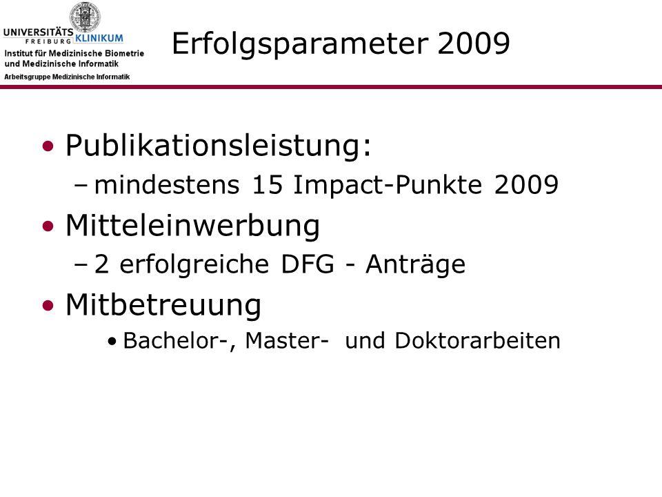 Erfolgsparameter 2009 Publikationsleistung: –mindestens 15 Impact-Punkte 2009 Mitteleinwerbung –2 erfolgreiche DFG - Anträge Mitbetreuung Bachelor-, Master- und Doktorarbeiten