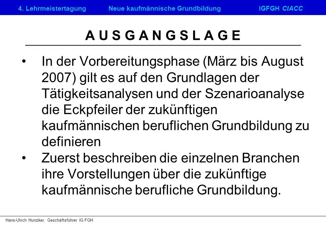 4. LehrmeistertagungNeue kaufmännische GrundbildungIGFGH CIACC Hans-Ulrich Hunziker, Geschäftsführer IG FGH A U S G A N G S L A G E In der Vorbereitun