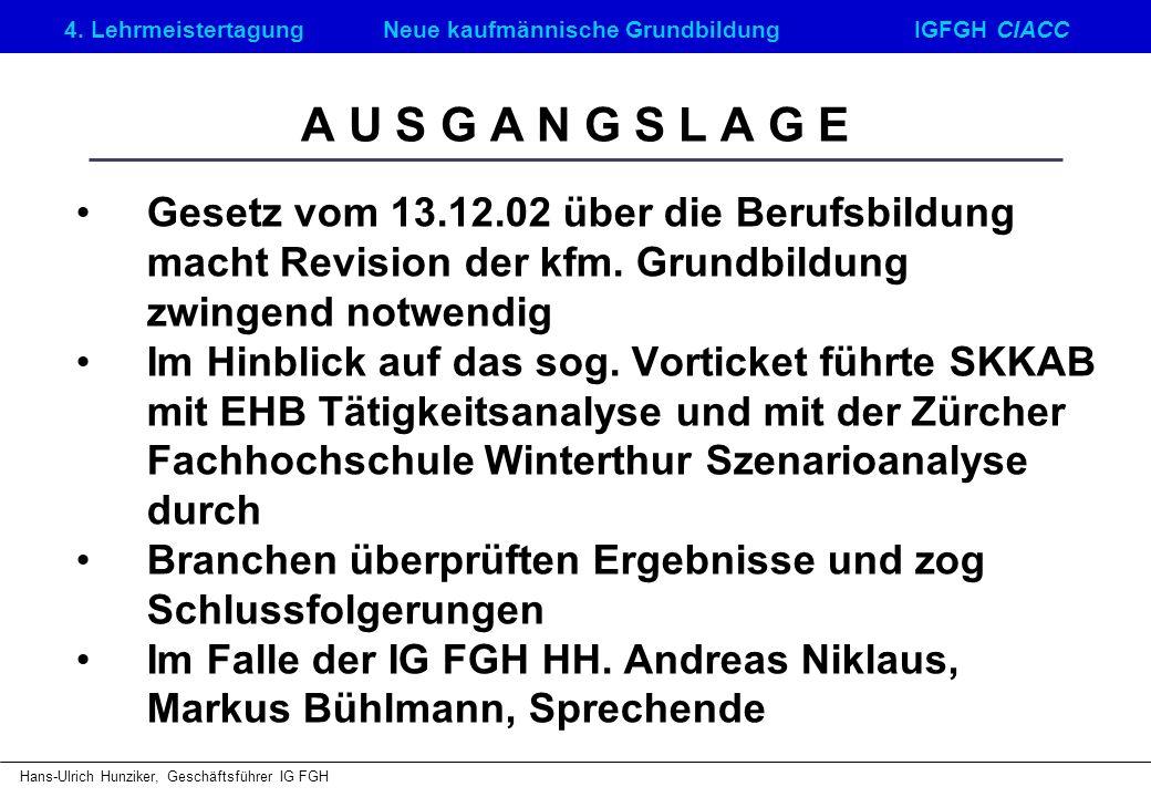 4. LehrmeistertagungNeue kaufmännische GrundbildungIGFGH CIACC Hans-Ulrich Hunziker, Geschäftsführer IG FGH A U S G A N G S L A G E Gesetz vom 13.12.0
