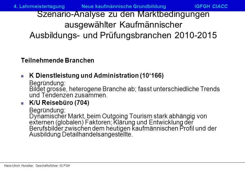 4. LehrmeistertagungNeue kaufmännische GrundbildungIGFGH CIACC Hans-Ulrich Hunziker, Geschäftsführer IG FGH Szenario-Analyse zu den Marktbedingungen a