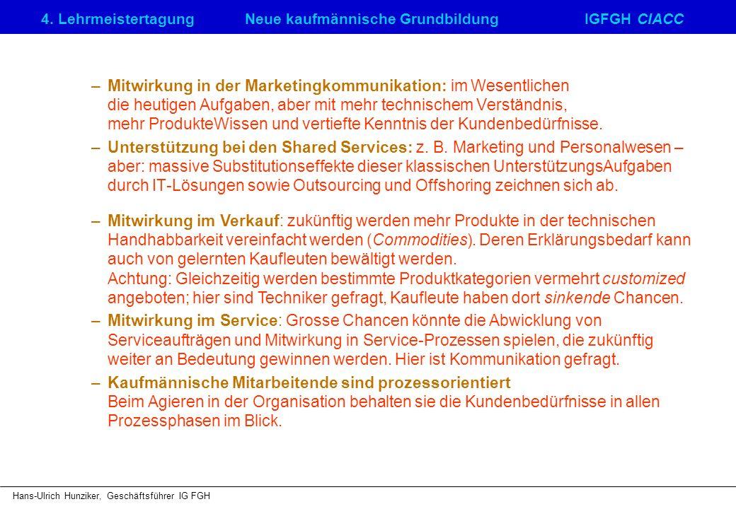 4. LehrmeistertagungNeue kaufmännische GrundbildungIGFGH CIACC Hans-Ulrich Hunziker, Geschäftsführer IG FGH –Mitwirkung in der Marketingkommunikation:
