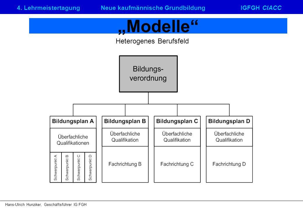 4. LehrmeistertagungNeue kaufmännische GrundbildungIGFGH CIACC Hans-Ulrich Hunziker, Geschäftsführer IG FGH Modelle Heterogenes Berufsfeld