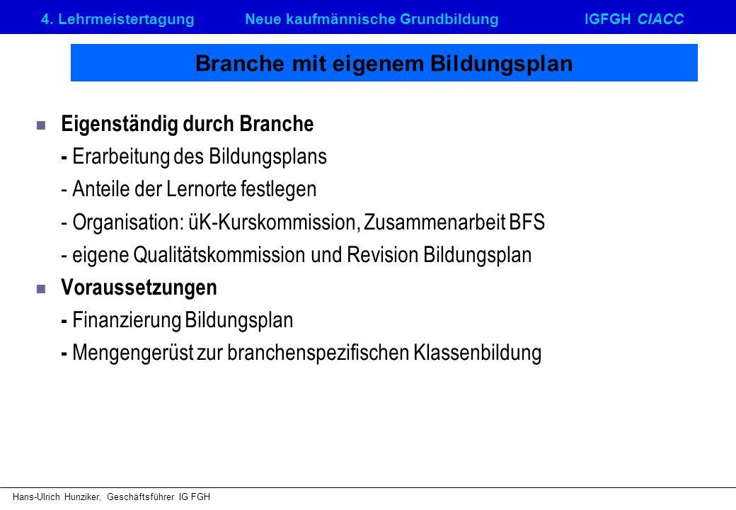 4. LehrmeistertagungNeue kaufmännische GrundbildungIGFGH CIACC Hans-Ulrich Hunziker, Geschäftsführer IG FGH Branche mit eigenem Bildungsplan Eigenstän