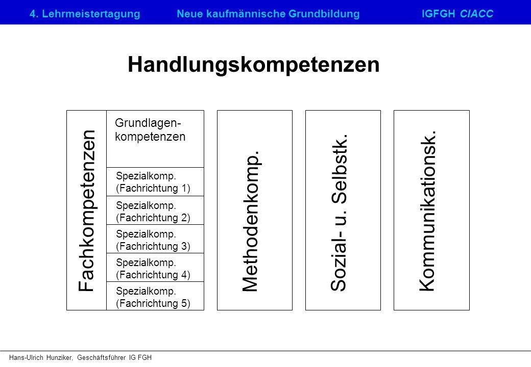 4. LehrmeistertagungNeue kaufmännische GrundbildungIGFGH CIACC Hans-Ulrich Hunziker, Geschäftsführer IG FGH Handlungskompetenzen Fachkompetenzen Metho
