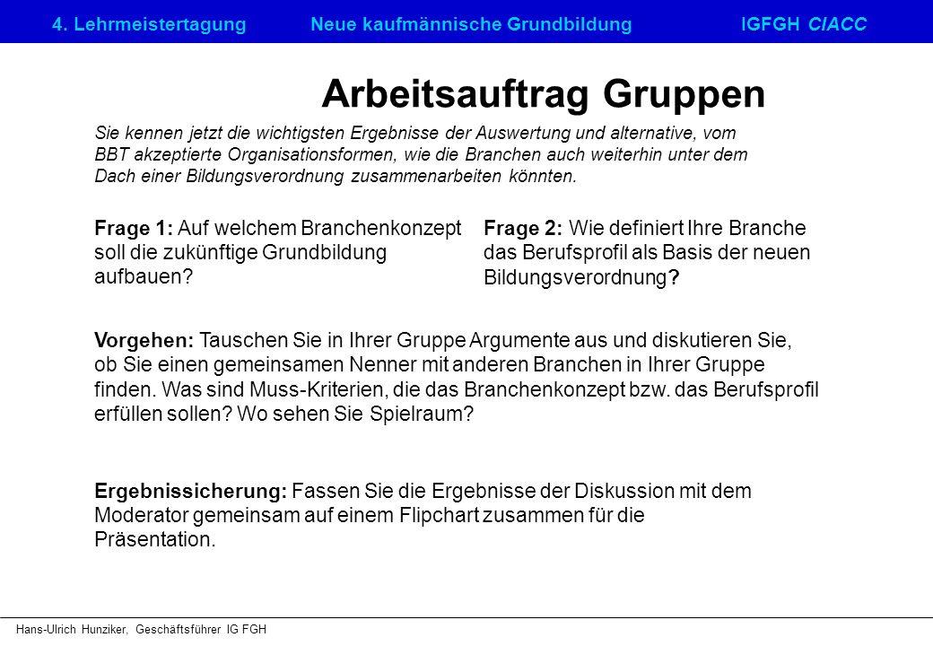 4. LehrmeistertagungNeue kaufmännische GrundbildungIGFGH CIACC Hans-Ulrich Hunziker, Geschäftsführer IG FGH Arbeitsauftrag Gruppen Frage 1: Auf welche