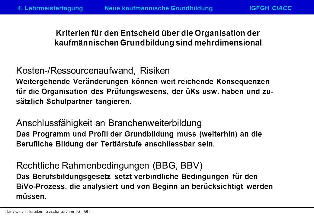 4. LehrmeistertagungNeue kaufmännische GrundbildungIGFGH CIACC Hans-Ulrich Hunziker, Geschäftsführer IG FGH Kriterien für den Entscheid über die Organ