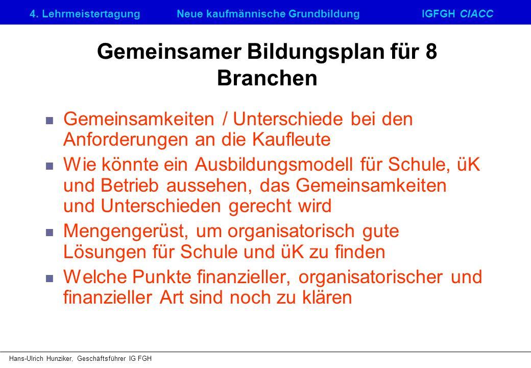4. LehrmeistertagungNeue kaufmännische GrundbildungIGFGH CIACC Hans-Ulrich Hunziker, Geschäftsführer IG FGH Gemeinsamer Bildungsplan für 8 Branchen Ge