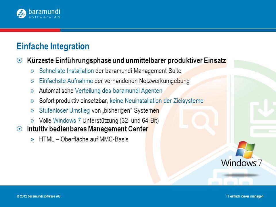 © 2009 baramundi software AG IT einfach clever managen © 2012 baramundi software AG IT einfach clever managen Kürzeste Einführungsphase und unmittelba