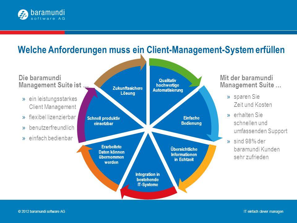 © 2009 baramundi software AG IT einfach clever managen © 2012 baramundi software AG IT einfach clever managen Einfache Bedienung Integration in besteh