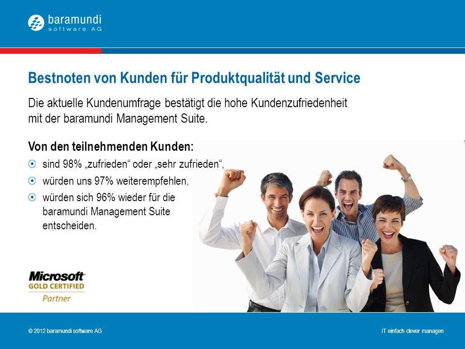 © 2009 baramundi software AG IT einfach clever managen © 2012 baramundi software AG IT einfach clever managen Bestnoten von Kunden für Produktqualität