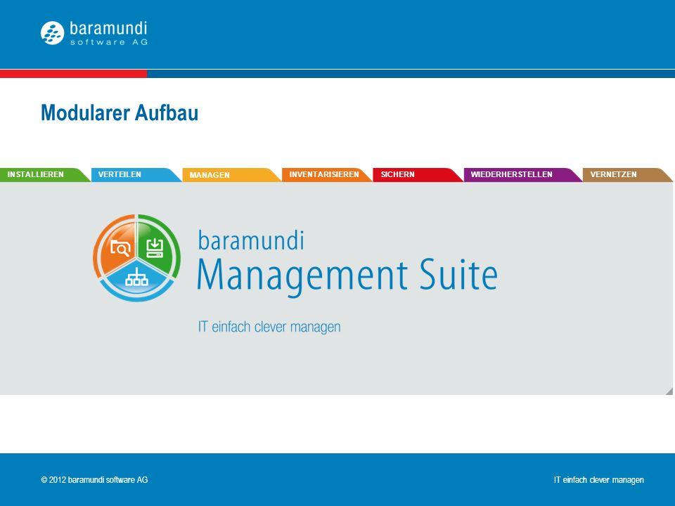 © 2009 baramundi software AG IT einfach clever managen © 2012 baramundi software AG IT einfach clever managen Modularer Aufbau INSTALLIERENVERTEILEN M