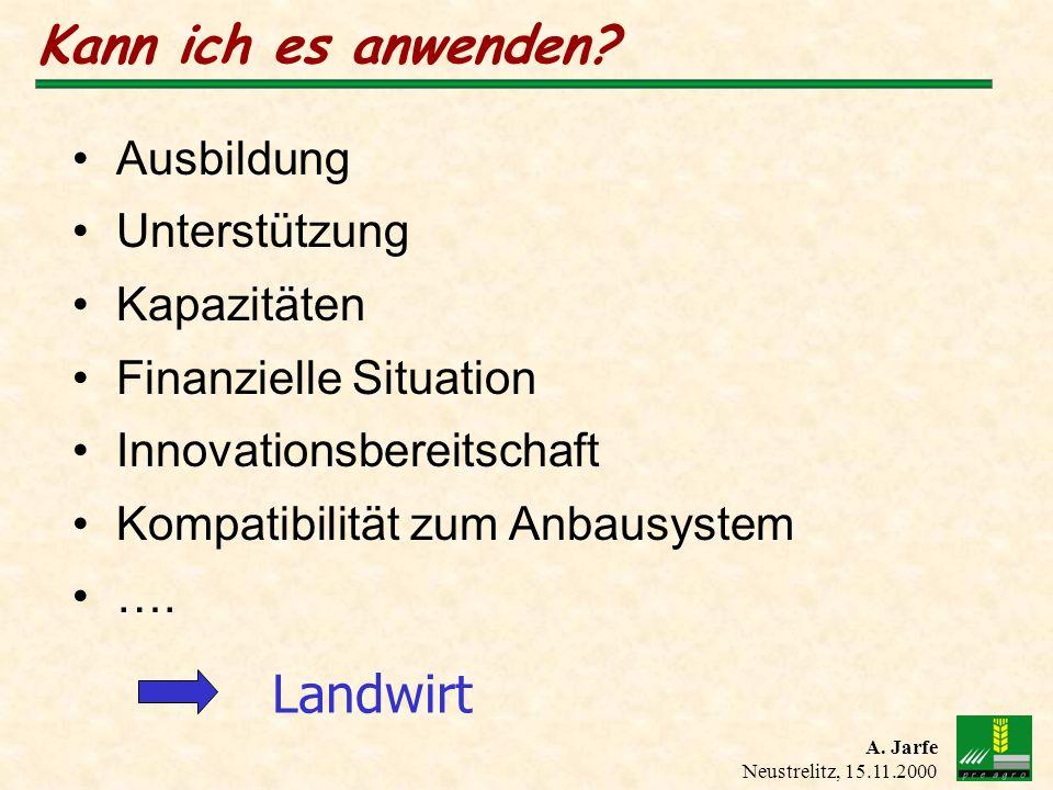 A. Jarfe Neustrelitz, 15.11.2000 Kann ich es anwenden? Landwirt Ausbildung Unterstützung Kapazitäten Finanzielle Situation Innovationsbereitschaft Kom