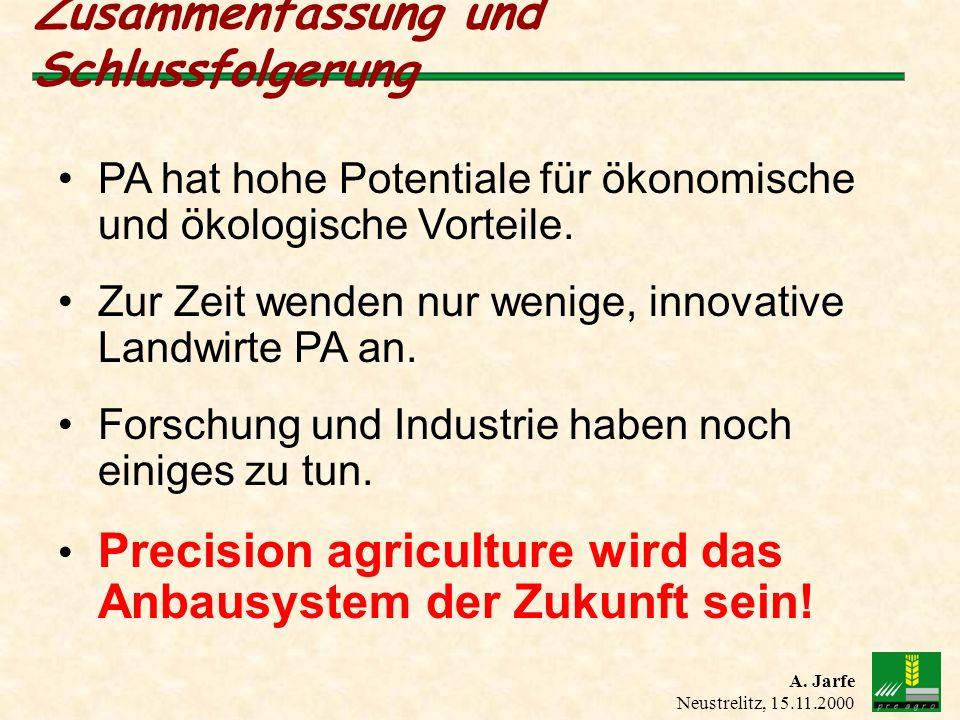 A. Jarfe Neustrelitz, 15.11.2000 Zusammenfassung und Schlussfolgerung PA hat hohe Potentiale für ökonomische und ökologische Vorteile. Zur Zeit wenden