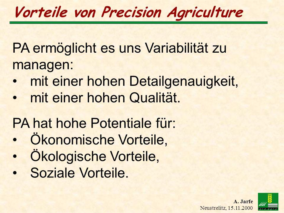 A. Jarfe Neustrelitz, 15.11.2000 Vorteile von Precision Agriculture PA ermöglicht es uns Variabilität zu managen: mit einer hohen Detailgenauigkeit, m