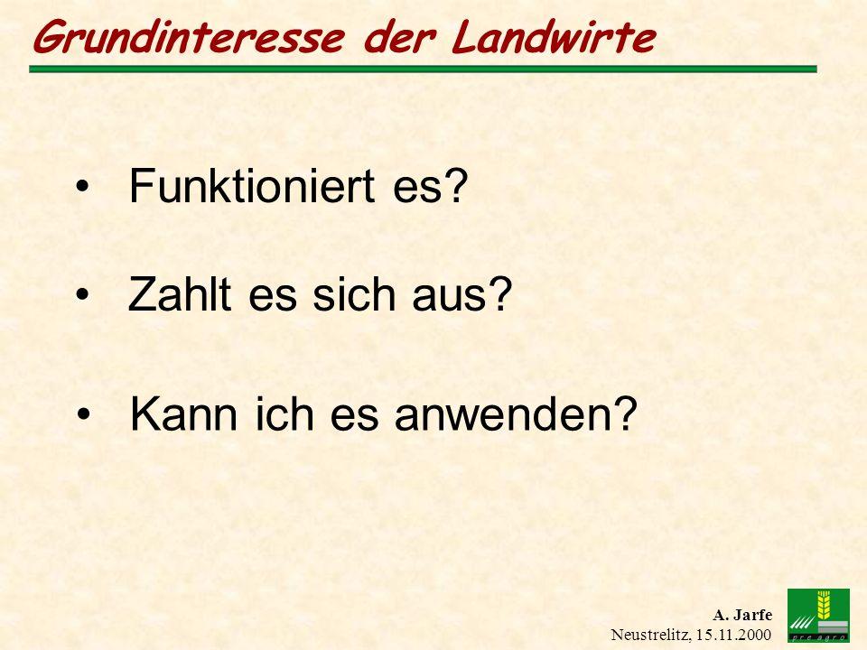 A. Jarfe Neustrelitz, 15.11.2000 Grundinteresse der Landwirte Funktioniert es? Kann ich es anwenden? Zahlt es sich aus?