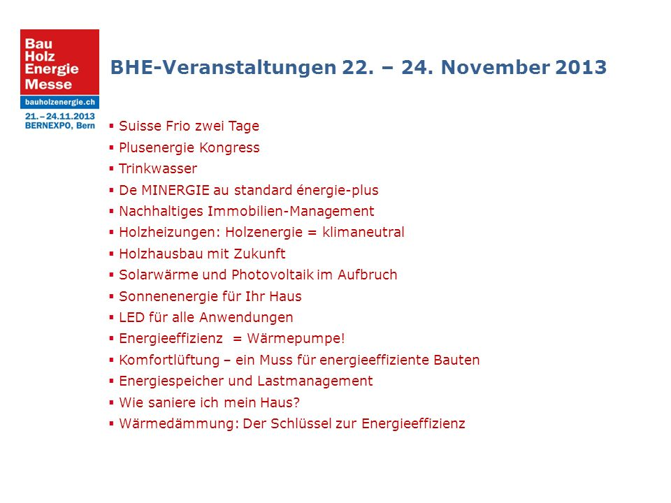 BHE-Veranstaltungen 22. – 24.