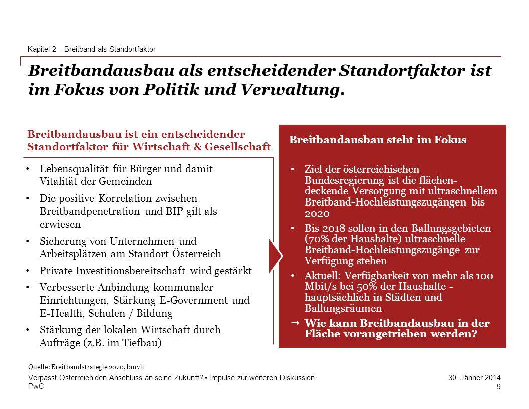 PwC 30. Jänner 2014 Breitbandausbau als entscheidender Standortfaktor ist im Fokus von Politik und Verwaltung. Kapitel 2 – Breitband als Standortfakto