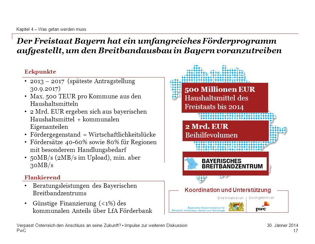 PwC 30. Jänner 2014 Der Freistaat Bayern hat ein umfangreiches Förderprogramm aufgestellt, um den Breitbandausbau in Bayern voranzutreiben Kapitel 4 –