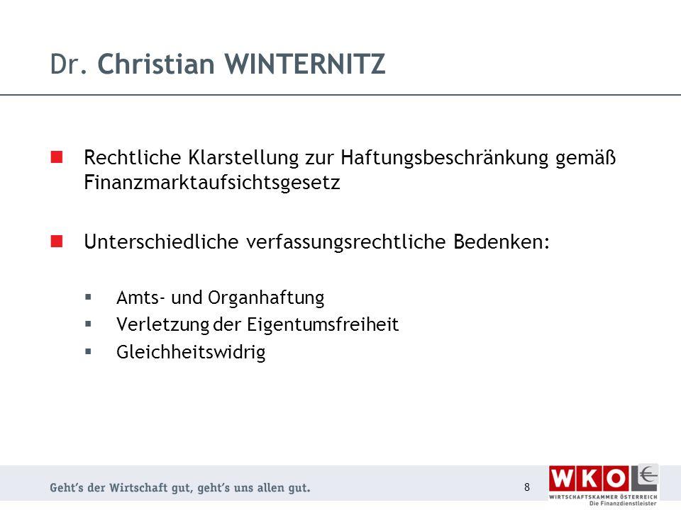 Dr. Christian WINTERNITZ Rechtliche Klarstellung zur Haftungsbeschränkung gemäß Finanzmarktaufsichtsgesetz Unterschiedliche verfassungsrechtliche Bede