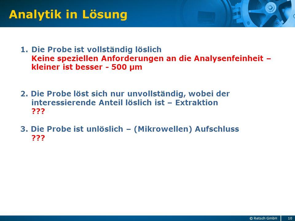 Analytik in Lösung 10© Retsch GmbH 1.Die Probe ist vollständig löslich Keine speziellen Anforderungen an die Analysenfeinheit – kleiner ist besser - 5