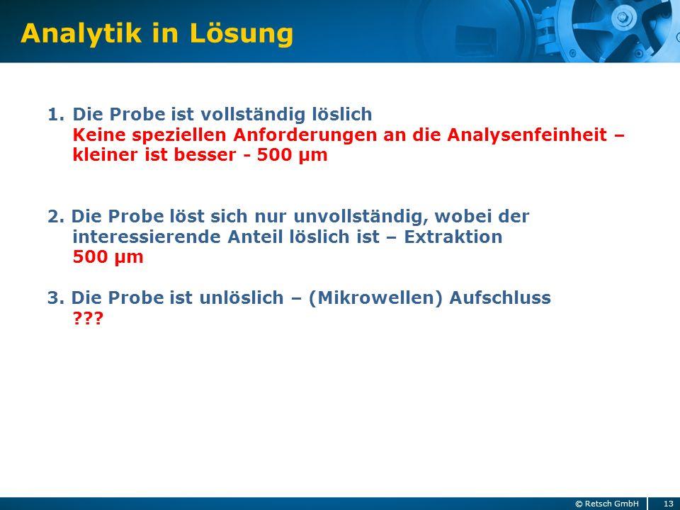 Analytik in Lösung 13© Retsch GmbH 1.Die Probe ist vollständig löslich Keine speziellen Anforderungen an die Analysenfeinheit – kleiner ist besser - 5