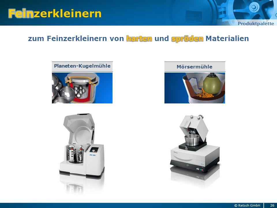 26© Retsch GmbH Produktpalette Mörsermühle Planeten-Kugelmühle