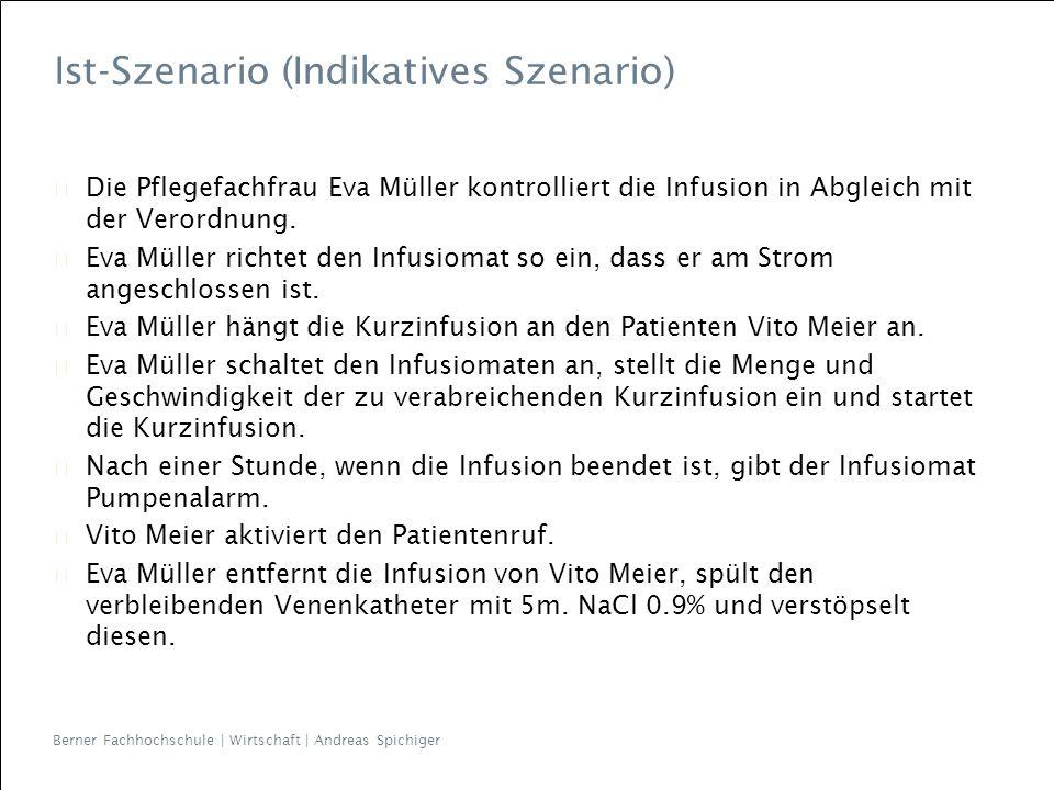 Die Pflegefachfrau Eva Müller kontrolliert die Infusion in Abgleich mit der Verordnung.