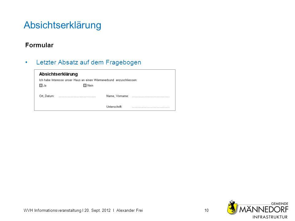 Absichtserklärung Formular Letzter Absatz auf dem Fragebogen WVH Informationsveranstaltung I 20. Sept. 2012 I Alexander Frei10