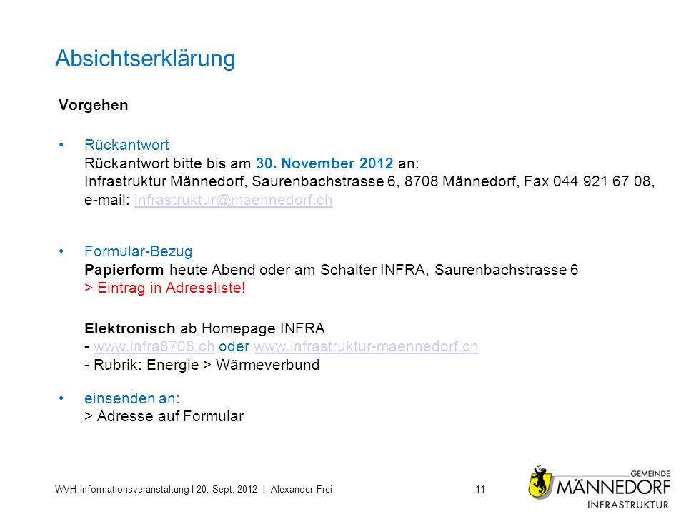 Absichtserklärung Vorgehen Rückantwort Rückantwort bitte bis am 30. November 2012 an: Infrastruktur Männedorf, Saurenbachstrasse 6, 8708 Männedorf, Fa