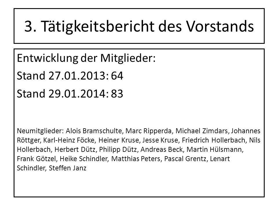 3. Tätigkeitsbericht des Vorstands Entwicklung der Mitglieder: Stand 27.01.2013: 64 Stand 29.01.2014: 83 Neumitglieder: Alois Bramschulte, Marc Ripper