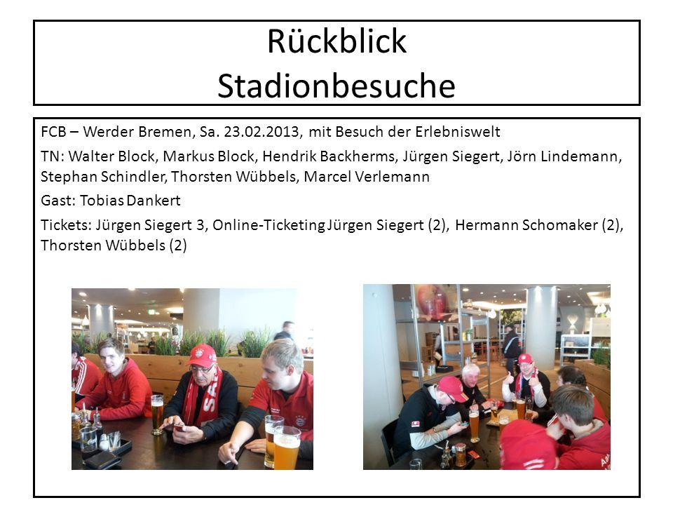 Rückblick Stadionbesuche FCB – Werder Bremen, Sa. 23.02.2013, mit Besuch der Erlebniswelt TN: Walter Block, Markus Block, Hendrik Backherms, Jürgen Si