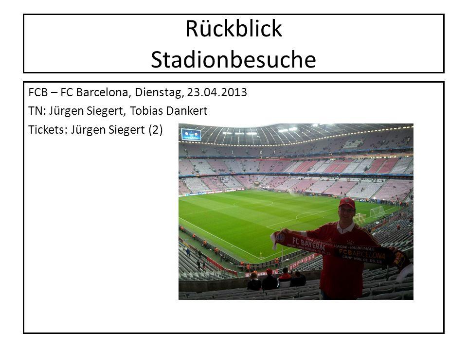 Rückblick Stadionbesuche FCB – FC Barcelona, Dienstag, 23.04.2013 TN: Jürgen Siegert, Tobias Dankert Tickets: Jürgen Siegert (2)