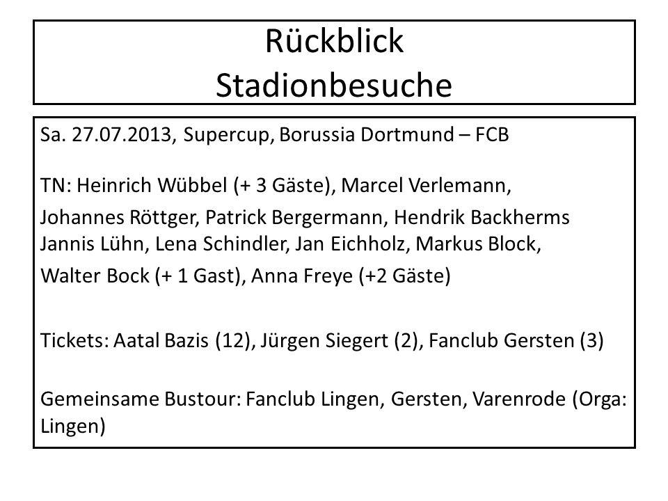 Rückblick Stadionbesuche Sa. 27.07.2013, Supercup, Borussia Dortmund – FCB TN: Heinrich Wübbel (+ 3 Gäste), Marcel Verlemann, Johannes Röttger, Patric