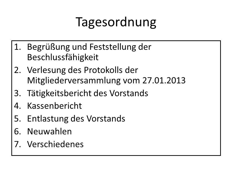 Tagesordnung 1.Begrüßung und Feststellung der Beschlussfähigkeit 2.Verlesung des Protokolls der Mitgliederversammlung vom 27.01.2013 3.Tätigkeitsberic