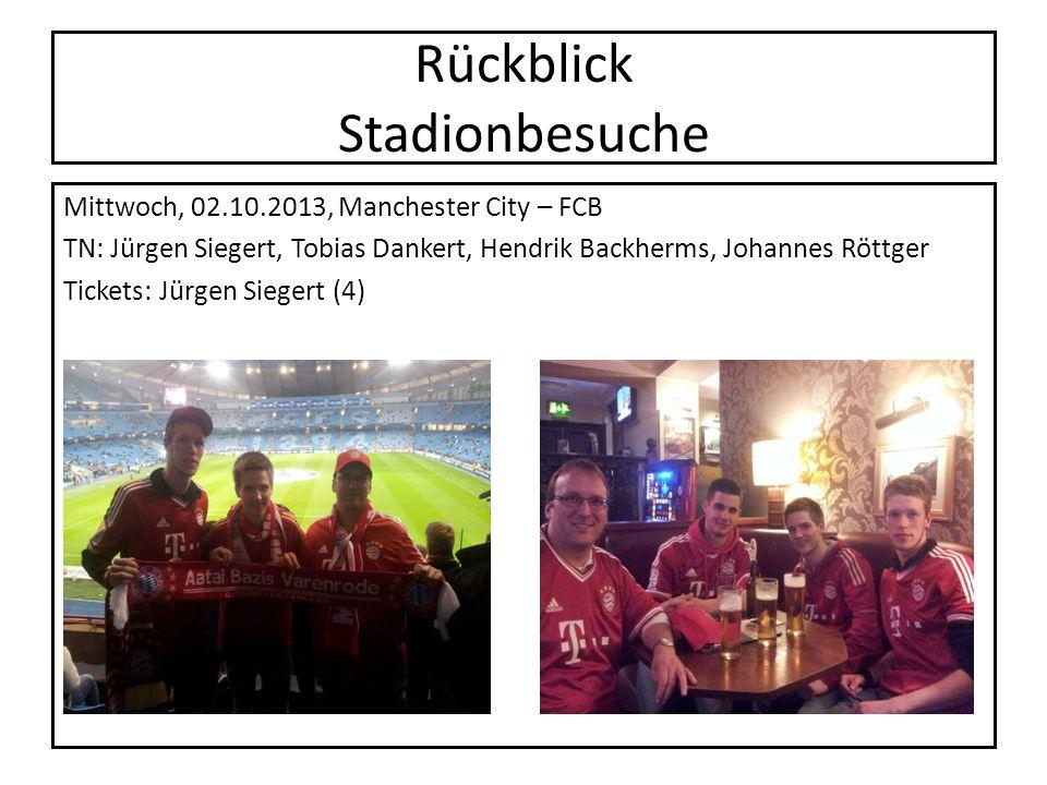 Rückblick Stadionbesuche Mittwoch, 02.10.2013, Manchester City – FCB TN: Jürgen Siegert, Tobias Dankert, Hendrik Backherms, Johannes Röttger Tickets:
