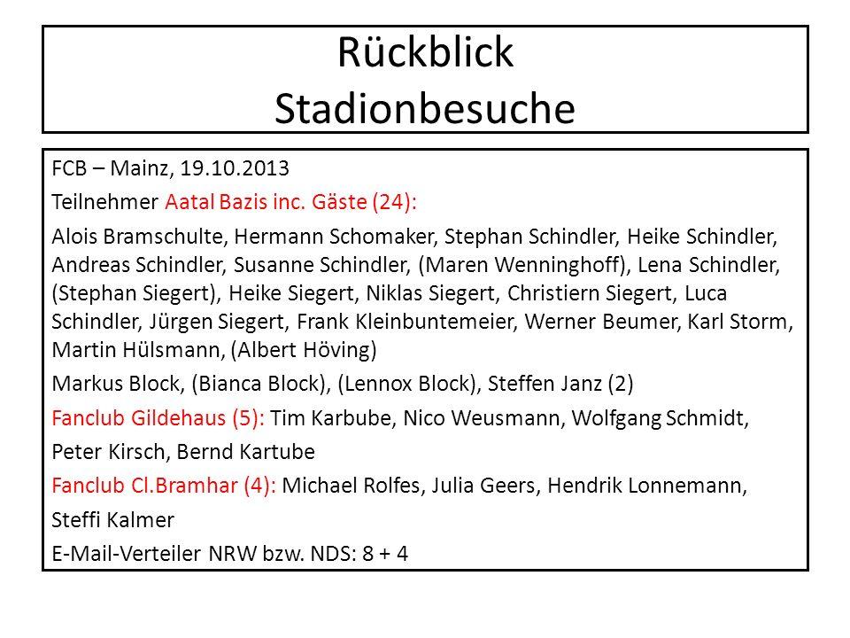 Rückblick Stadionbesuche FCB – Mainz, 19.10.2013 Teilnehmer Aatal Bazis inc. Gäste (24): Alois Bramschulte, Hermann Schomaker, Stephan Schindler, Heik