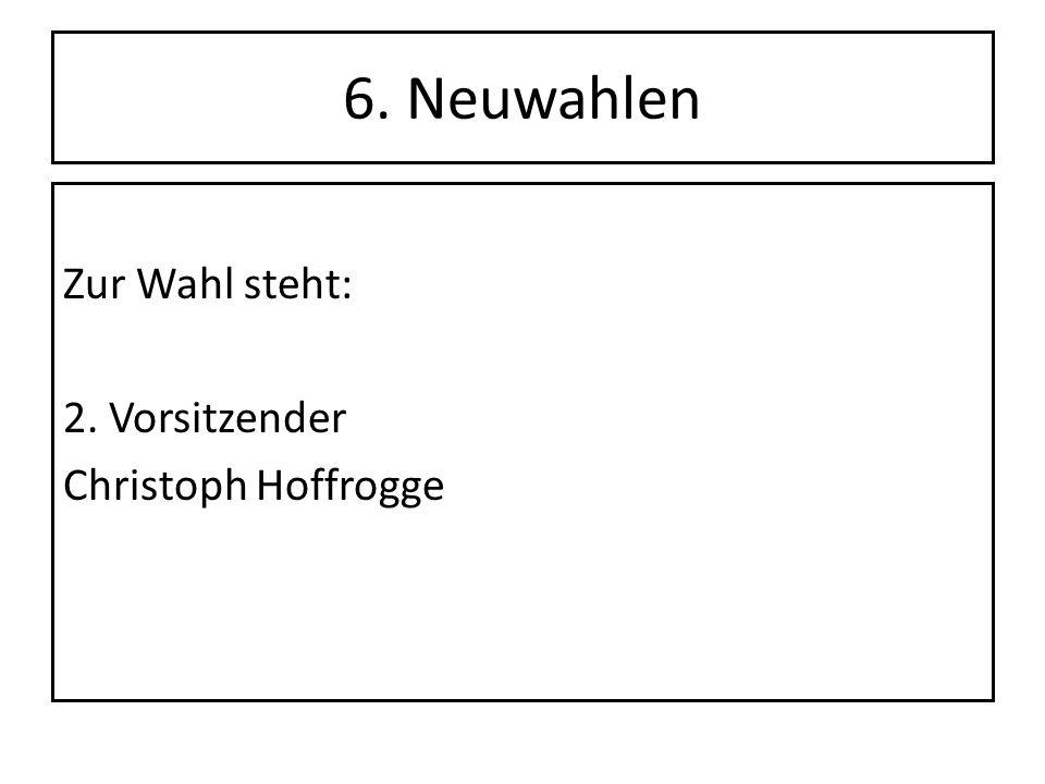 6. Neuwahlen Zur Wahl steht: 2. Vorsitzender Christoph Hoffrogge