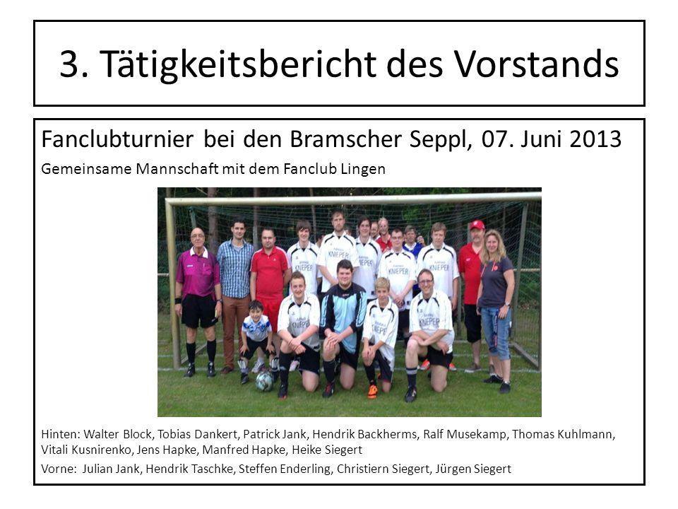 3. Tätigkeitsbericht des Vorstands Fanclubturnier bei den Bramscher Seppl, 07. Juni 2013 Gemeinsame Mannschaft mit dem Fanclub Lingen Hinten: Walter B